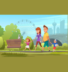 Cheerful family walking in park vector