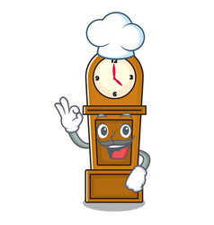 Chef grandfather clock character cartoon vector