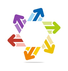 circle arrow star hexagon design vector image vector image