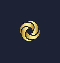circle round abstract spin gold logo vector image