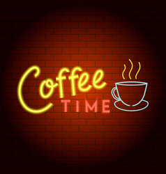 coffee time logo neon light icon realistic style vector image