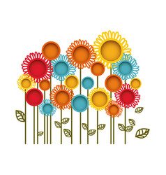 colorful flowers with leaves icon vector image