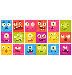 Colorful square funny face of monsters with vector
