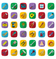 construction tools color icons set industrial vector image