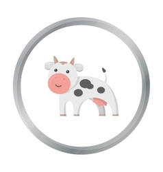 Cow icon cartoon Single bio eco organic product vector image