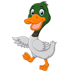 Cute baby duck waving hand vector