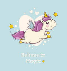 Cute postcard with flying magical unicorn on blue vector