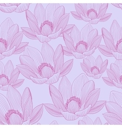 Cute seamless pattern with pink lotus flowers vector image