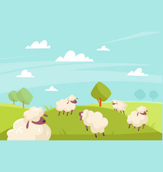 Cute sheeps grazing green meadows and blue vector