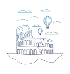 Degraded line coliseum rome and funny air balloons vector