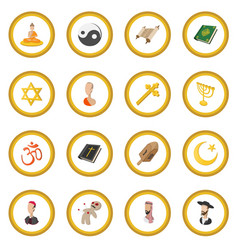 Different religions cartoon icon circle vector