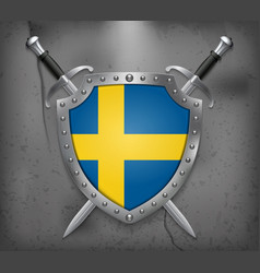 Flag of sweden the shield with national flag two vector