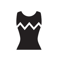 Flat icon in black and white women T-shirt vector