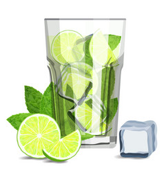fresh mojito coctail with lime slices ice cubes vector image