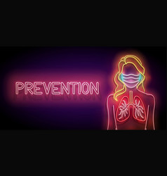 glow female silhouette with lungs and face mask vector image