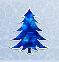 glowing blue christmas tree design elements vector image