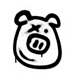 graffiti pig emoji sprayed in black on white vector image