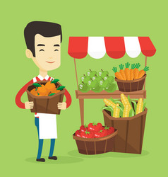 Greengrocer with fruits and vegetables vector