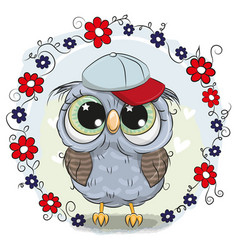 greeting card cute owl with flowers vector image