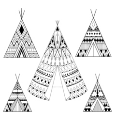 Hand drawn American native five wigwams set with vector