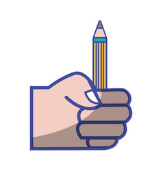 Hand with pencil school utensil to study vector