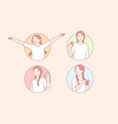 Happiness approval shy greeting set vector
