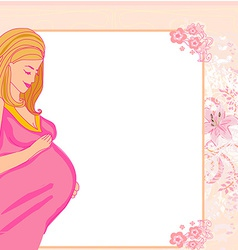 Happy pregnant woman baby shower card vector