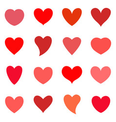 hearts icon set valentine simbol vector image