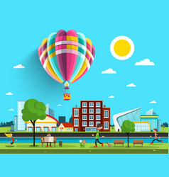 hot air balloon flying over city vector image