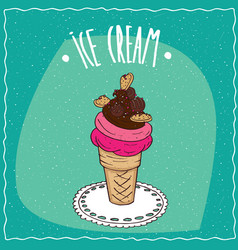 Ice cream with cookies is on the lacy napkin vector