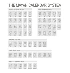 Icon set with mayan calendar system vector