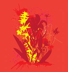 Ink and flowers vector