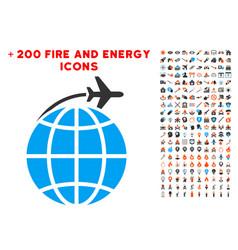 international flight icon with bonus flame clipart vector image