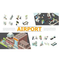 Isometric airport elements set vector