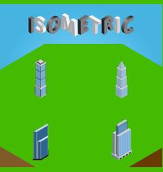 isometric building set of apartment urban vector image