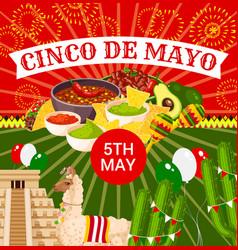 mexican cinco de mayo fiesta poster vector image