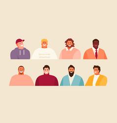 Modern men portraits set vector