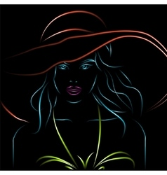 Neon girl in bikini and hat on a black vector