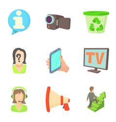 progress of work icons set cartoon style vector image