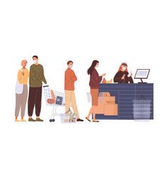 queue buyers in face masks at cash desk vector image