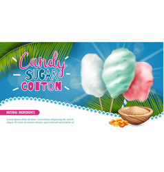 Realistic cotton candy poster vector