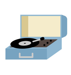 Record player flat on white vector