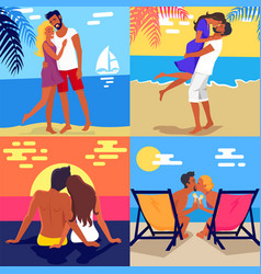 Romantic young couple spending honeymoon on beach vector