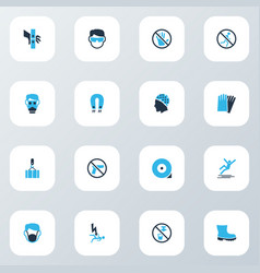 safety icons colored set with hand protection vector image