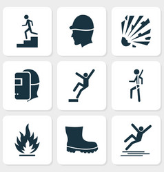 safety icons set with boot risk flammable and vector image
