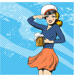Sailor woman retro pop art vector