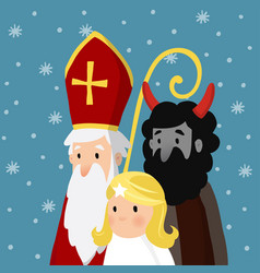 Saint nicholas with angel devil and falling snow vector