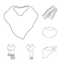 Scarf and shawl outline icons in set collection vector