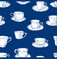 Seamless pattern of different tea cups vector