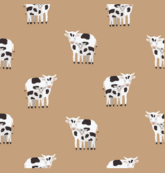 Seamless pattern with cow and calf coated in black vector
